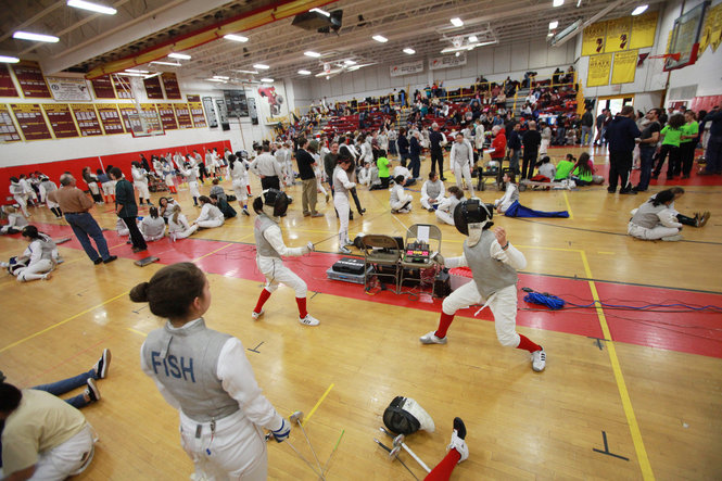 Getting ready for competitive fencing harrison high